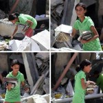 Girl in Gaza searches for books in rubble