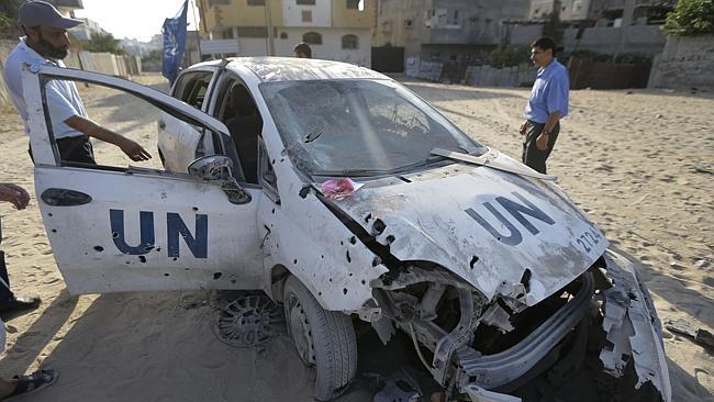 gaza UN vehivle