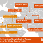 map of the birth places of the founders of the 4 schools of thought and the compilers of the 6 major books of Hadith