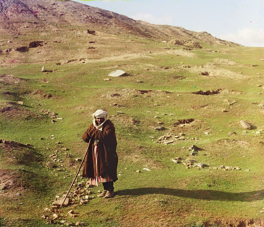 15 Shepherd posed near a hillside, Samarkand; between 1905 and 1915