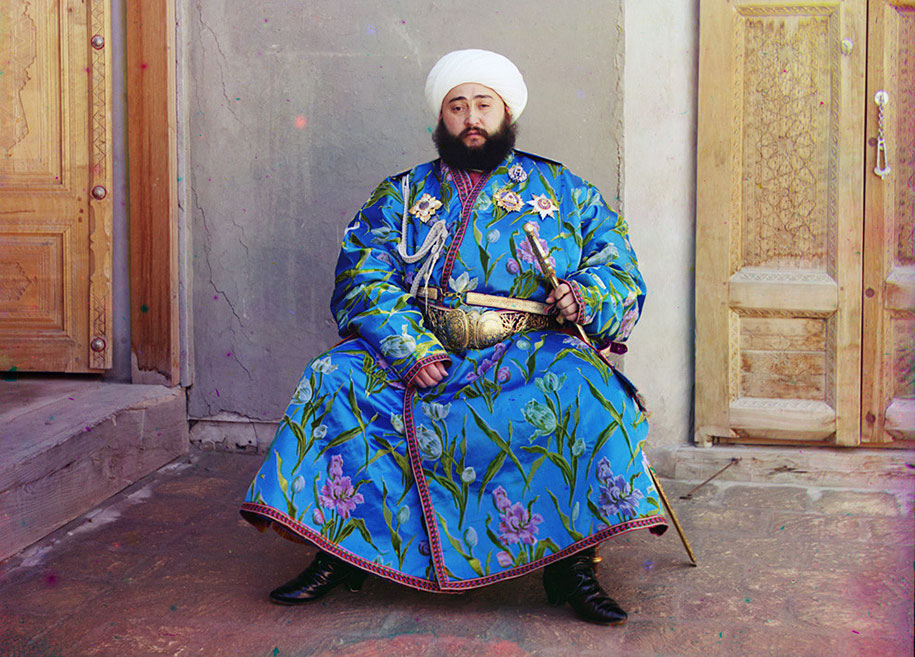 7 The Emir of Bukhara, Alim Khan (1880-1944), poses solemnly for his portrait, taken shortly after his accession. As ruler of an autonomous city-state in Islamic Central Asia, the Emir presided ove