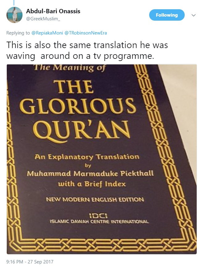 Man Becomes Muslim After Ex-EDL Leader Appears on TV With the Qur'an